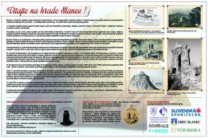 Turistická informačná tabuľa umiestnená v roku 2014 v areáli zrúcaniny hradu Slanec