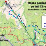 Mapka plánovaného pochodu po línii československého opevnenia - 22.4.2018